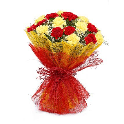 Bunch of Red & Yellow Carnation cake delivery Delhi