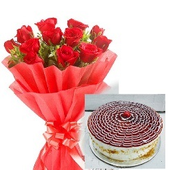 Red Roses & Butther Scotch Cake cake delivery Delhi