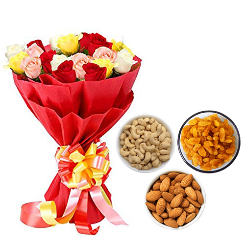 Mix Roses Bunch & 750Gm Mix Dry Fruits cake delivery Delhi