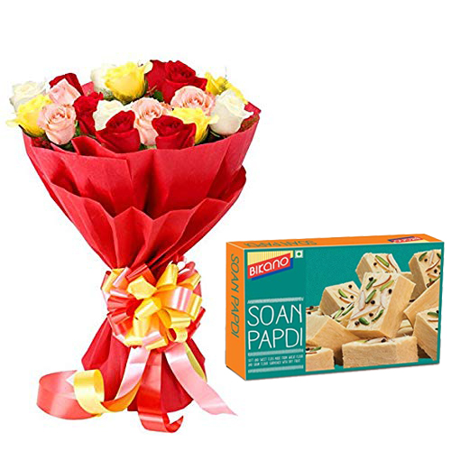 Bunch of Roses in Paper Packing & 500Gm Soanpapdi cake delivery Delhi