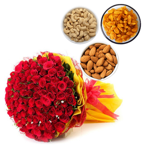 Roses & Dry Fruit cake delivery Delhi