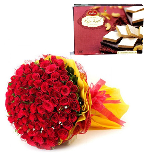 Roses Bunch & Kaju Burfi cake delivery Delhi