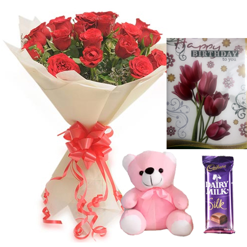 Roses Teddy & Card Chocolate cake delivery Delhi