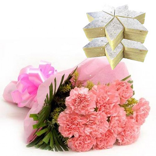 Bunch of 12 Pink Carnation & 1kg Kaju Burfi cake delivery Delhi