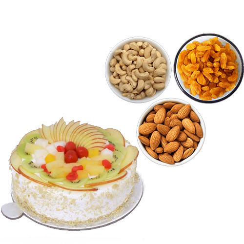 1/2KG Fresh Fruit Cake & 750Gm Mix Dry Fruits cake delivery Delhi
