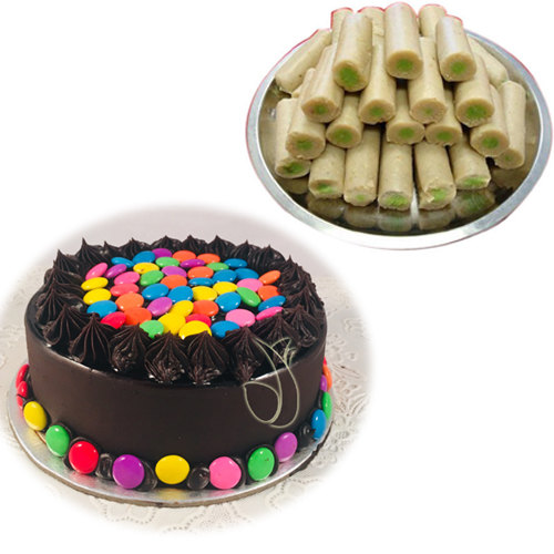 1/2kg Gems Cake & 500Gm Kaju Roll cake delivery Delhi