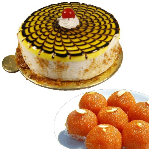 1/2KG Butter Scotch Cake & 500Gm Moti Choor Ladoo cake delivery Delhi