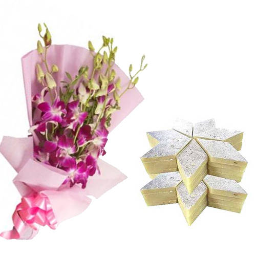 Bunch of Orchid & 1/2Kg Kaju Burfi cake delivery Delhi