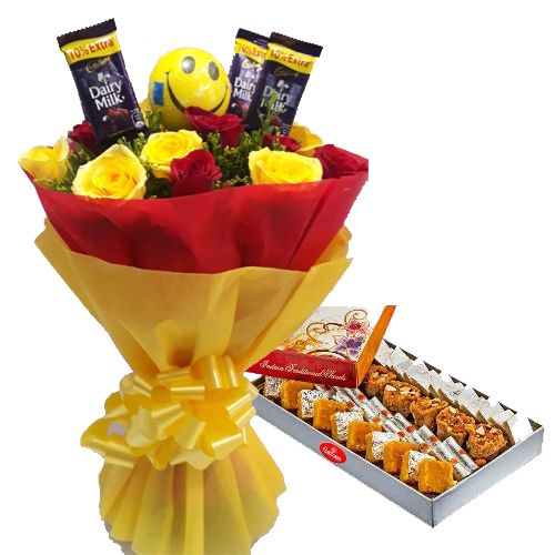 Roses & Chocolate Bunch & 1kg Assorted Sweet cake delivery Delhi