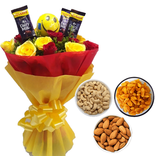 Roses & Chocolate Bunch & 750Gm Mix Dry Fruits cake delivery Delhi