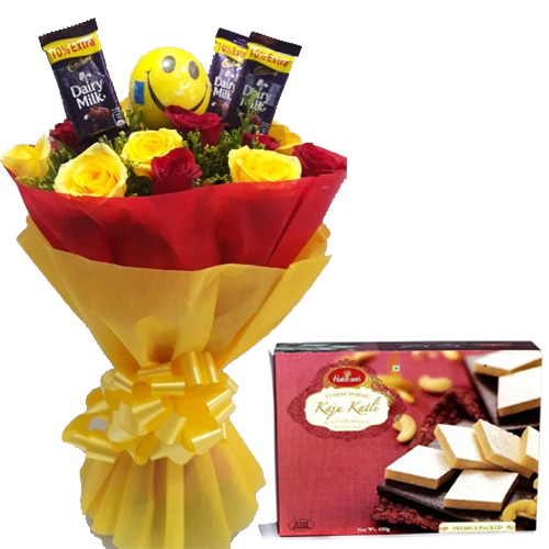Roses & Chocolate Bunch & 1/2Kg Kaju Burfi Box  cake delivery Delhi