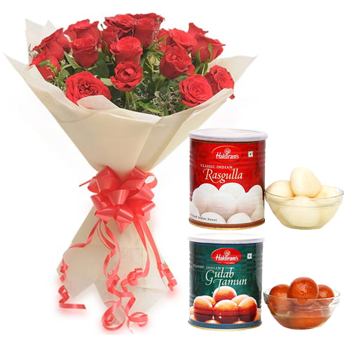 Bunch of Roses & Rasgulla & Gulab Jamun cake delivery Delhi