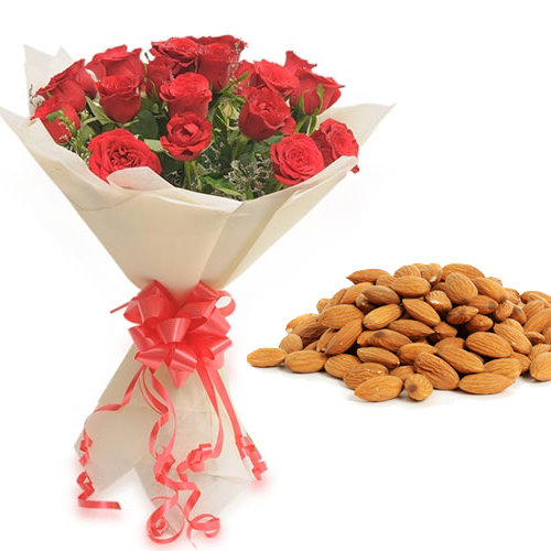 Roses Bunch & 1/2Kg Almond Dry Fruit cake delivery Delhi