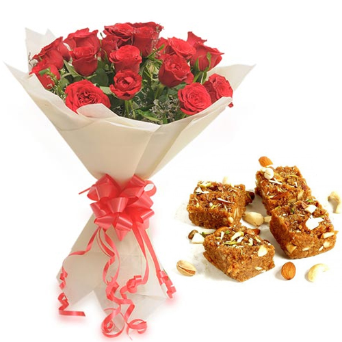 Roses Bunch & 500Gm Doda Burfi cake delivery Delhi