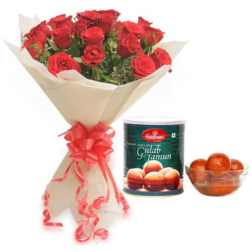 Roses Bunch & 1Kg Gulab Jamun Pack cake delivery Delhi