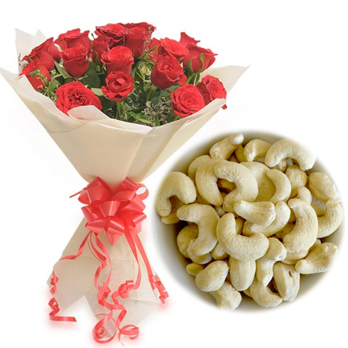 Roses Bunch & 1/2Kg Kaju Dry Fruit cake delivery Delhi