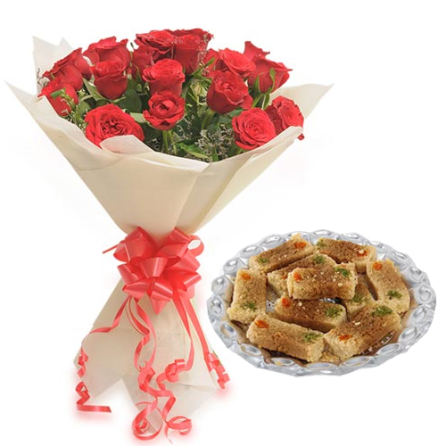 Roses Bunch & 500Gm Milk Cake Sweet cake delivery Delhi