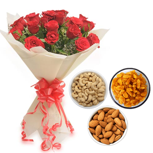 Roses Bunch & 750Gm Mix Dry Fruits cake delivery Delhi