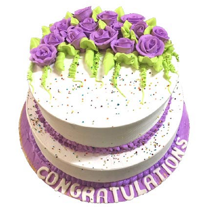 3Kg 2 Tier White and Purple Cake cake delivery Delhi