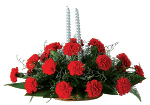 Oval arrangement of 25 Carnation�with Candles cake delivery Delhi