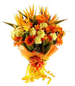 Hand tied bunch of 30 exotic mix flowers cake delivery Delhi
