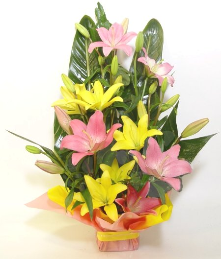 Mix Asiatic Lillium arranged in a Basket cake delivery Delhi