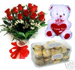 A bunch of 10 roses with 16pc Ferrero Rocher Chocolate and a cute Teddy cake delivery Delhi