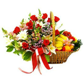 Mix Flowers and Mix Fresh Fruits basket cake delivery Delhi