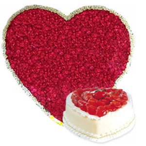 Heart Shape arrangement of 200 Roses and 1kg Cake cake delivery Delhi