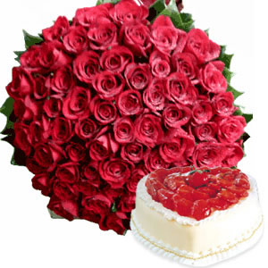 Bunch of 100 Roses and 1kg Cake cake delivery Delhi