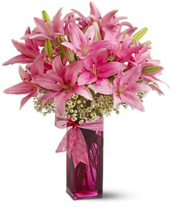 Asiatic Lilliums in a glass vase cake delivery Delhi