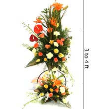 3 to 4 ft height arrangement of mix exotic flowers cake delivery Delhi