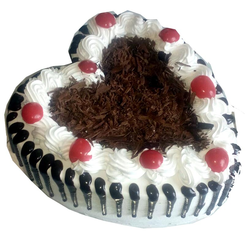 1kg Heart Shape Black Forest Cake cake delivery Delhi