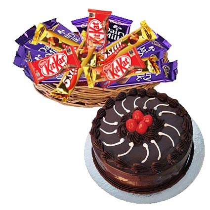 Basket of 12 Mix Chocolates with 1/2kg Truffle Cake cake delivery Delhi