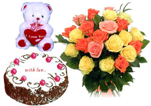 Bunch of 15 Mix Roses with 1 kg Cake & cute Teddy cake delivery Delhi