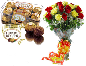 A bunch of 20 Roses with 16 pc Ferrero Rocher Chocolates. cake delivery Delhi