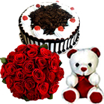 A 15 red roses Bunch, 1/2kg Black Forest Cake and small teddy