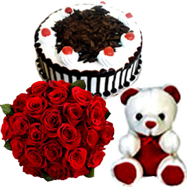 A 15 red roses Bunch & 1Kg Black Forest Cake & small Teddy cake delivery Delhi