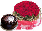 A hand bunch of 50 Roses and 1kg chocolate truffle cake