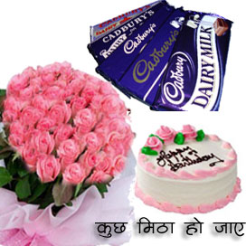 25 Pink Roses Bunch with 1/2kg Cake and 10 Dairy Milk Chocolates. cake delivery Delhi