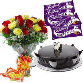 15 Roses Bunch & 1/2 kg Truffle Cake and 5 Dairy Milk Chocolates cake delivery Delhi