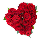 Heart shape arrangement of 30red roses
