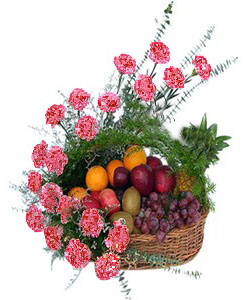 Arrangement of 20 carnation and Mix Fruits 4kg cake delivery Delhi