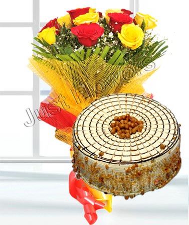 12 Red and Yellow Roses & 1/2 kg Buttersoctch Cake cake delivery Delhi
