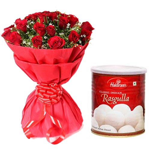 Bunch of 12 Red Roses with 1kg Haldiram Rasgulla tin pack cake delivery Delhi